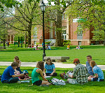 Eckley Quad with Stevenson Hall. Classes meeting outdoors.